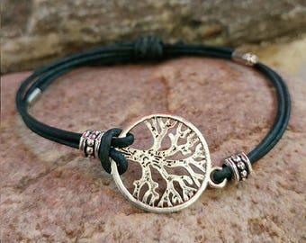 BOHO Tree of Life charm bracelet with adjustable leather cord
