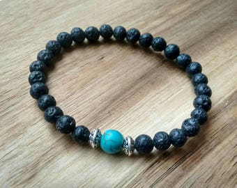 Black lava bead bracelet with 6mm lava stones and turquoise-coloured howlite bead