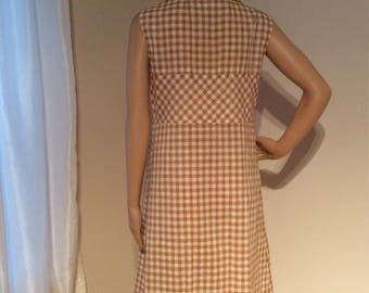 Handmade Tan/white Double breasted, Knee length dress Size Medium