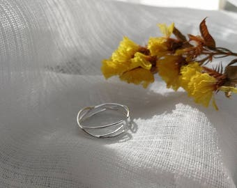 Sterling Silver ring ,Adjustable open ring,Twig ring, Gift, Wedding party,Dainty ring,Thin ring