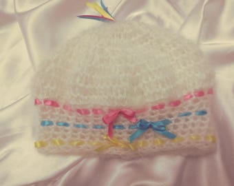 White Mohair Hat handmade, crochet Hat with Ribbon three colors Pink,Blue, Yellow , beautiful fluffy Mohair,Free Shipping