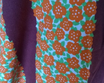 Fabric vintage cotton printed with orange flowers 47 x 36