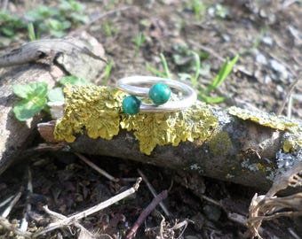 Silver ring 925 (flexible) and malachite beads