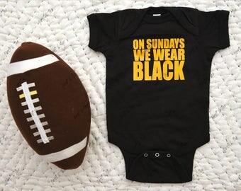 Pittsburgh Baby, Pittsburgh Baby Onesie, Pittsburgh Onesie, Baby, Onesie, Bodysuit, What color does your baby wear on Sunday?