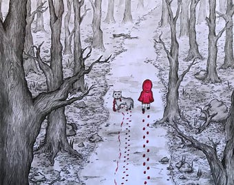 Little Red, pen and ink print