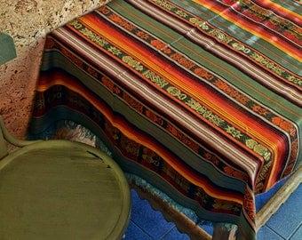 Mantel andino, textil inca andino, decoración étnica, mantelería aguaya, cubremesa andino. Mantel estilo boho. Decoración aguaya.
