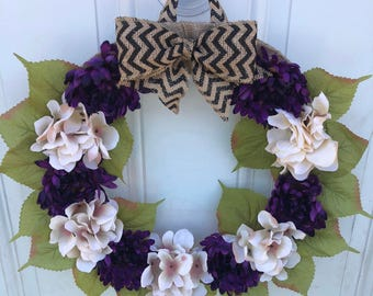 Burlap Purple/Cream color Front door Wreatg