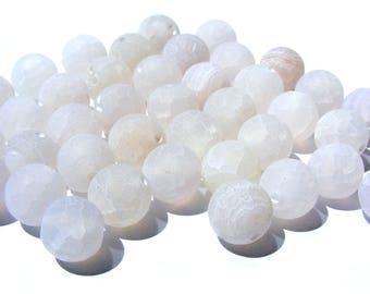 8 agates veine de dragon de 8 mm perles pierre mat blanche beige.