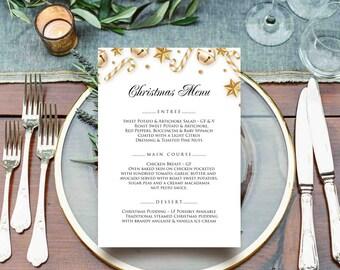 Christmas Menu Printable Menu Winter Party Menu Cards Holiday Menu Christmas Dinner Menu Gold Stars & Candy Cane Menu Editable Menu Template