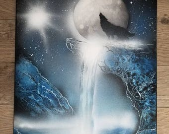 "SPRAY PAINT Art ""Midnight Wolf"" Original By GraphicGurl space painting galaxy stars"