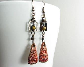 Long Boho Earrings, Fasete Stone Beads, Quartz Tygers Eye, Dangle Red Ceramic Drops, Handmade Jewelry, Copper Bohemian Earrings
