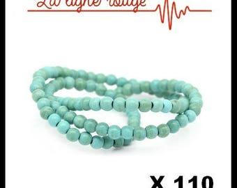 110 beads Howlite imitation Turquoise green 4mm, hole: 0.6 mm, 40 cm long