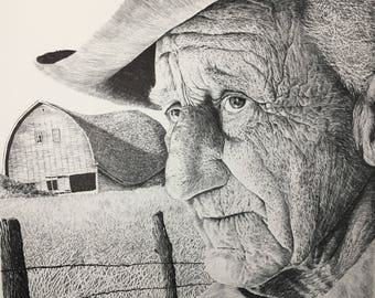 Pencil Drawing Print, Barn, Old Man, Farm, Vern's Barn