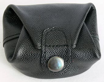 Black grained leather purse