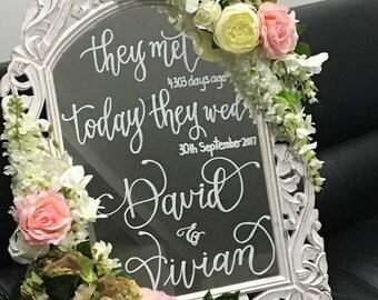 Hand lettered wedding mirror