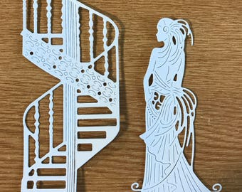 Fancy staircase and Glamourous Clara die cuts