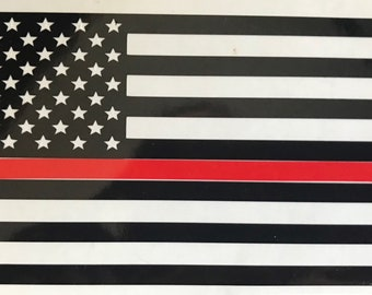 Thin Line American Flag vinyl decal/sticker, for tumbler, car window, laptop, blue line, red line, green line, patriotic decal