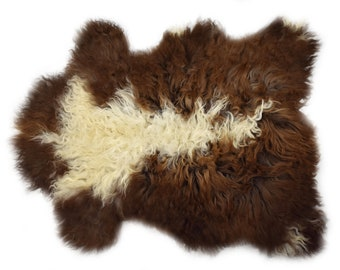 """Authentic Handmade Long Wool Sheepskin Pelt, Ethically Sourced in Europe, Genuine Leather, Sheepskin Throw, Seat Cover, 2'6"""" x 3'2"""""""