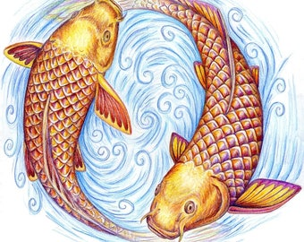Pisces Fish Yin Yang Colorful Giclée Fine Art Print