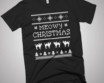 Meowy Christmas youth T shirt