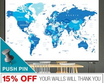Word Map Canvas, World Map Wall Art, World Map, Push Pin World Map, World Map Push Pin, World Map Print,  PushPin World Map, Map Canvas