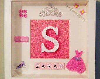Personalised Scrabble Art Picture frame, Baby boy/girl, Baby Shower gift, Birthday, Christening, Baptism, New baby, name, Initial, Keepsake