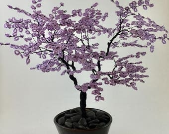 Wire Bonsai Tree Sculpture in lilac