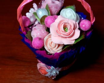 Basket with flowers, polymer clay, souvenir, flowers