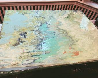 16x20 Spring Pond Acrylic Paint Pour