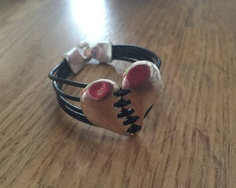 Silver heart and black leather cord bracelet