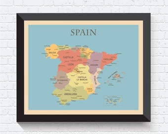 Spain Map, Spain Poster, Spain Print, Map of Spain, Spain Map Print, Spain Art, Spain Wall Art, Spain Decor, Spain Art Print, Office Decor