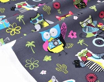 Fabric American width 150cm owls on vacation gray x 50cm