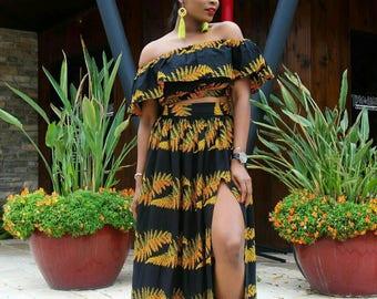 African Matching Set/African Skirt Set/African Matching Dresses/African Print Set/Ankara Set/African Set/Off Shoulder Dress/Crop Top