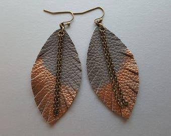 Grey & Bronze Leather Earrings. Boho Earrings. Lather Feather Earrings. Bohemian Dangle Earrings. Country Chic Jewelry Leather Leaf Earrings