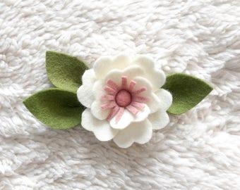 White Felt Floral Headband