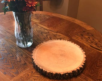 Cake Stand-Untreated Wood Slab 12""