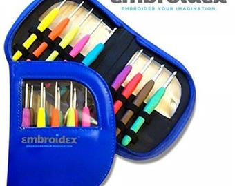 Embroidex 9 Pc Ergonomic Crochet Hooks Needles Color Coded Non Slip Cushioned Handles In Beautiful Case