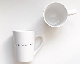 Individual, Personalized Coffee/Tea Mug, Script, Te Dua Mug, Albanian Albania Mug, Albanian Gift, Albanian Couple, Black