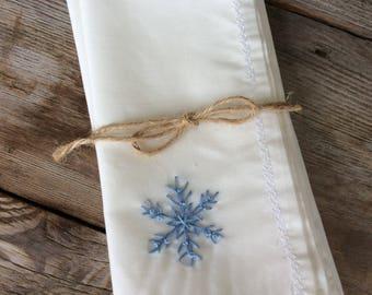 Hand embroidered snowflake napkins