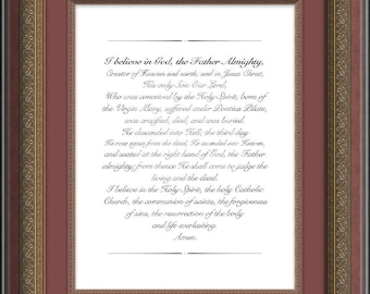 Apostles Creed, Christian Prayer Print, Religious Wall Art, Catholic Print, Confirmation Gift, Baptism Gift, Christian Print