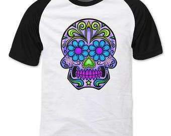 Sugar Skull, Purple and Blue Raglan sleeve T-shirt