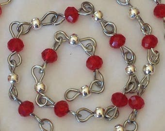 55cm of chain/beads 6mm red glass rondelles