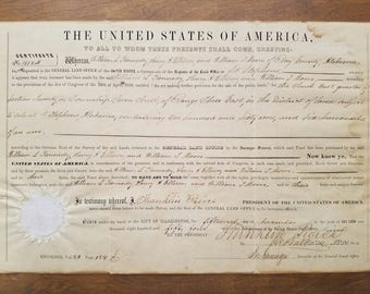 1854 Land Grant Signed President Franklin Pierce!