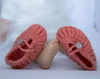 Baby Booties, Hand Knitted Boots, Baby Gift, Baby Shower Gift, Newborn Photo Prop, Soft Orange or Teal