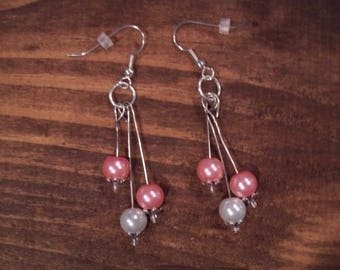 Tri-Strand Pink and White Earrings