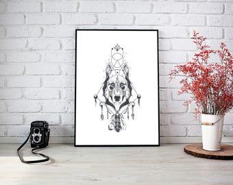 Boho Wolf Print