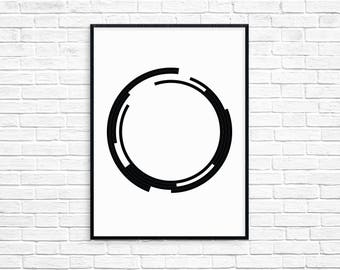 Broken Circles Print, Printable Art, Digital Print, Wall Art, Home Decor, Modern Decor, Scandinavian Poster, Minimal, Black and White