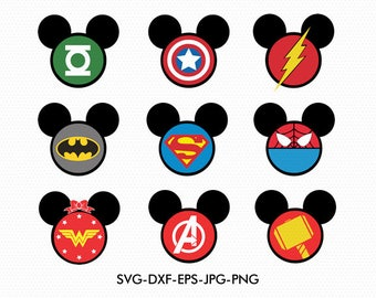 Superheroes Mickey Minnie Ears svg, Minnie Bow Disney Monogram clip art, svg dxf for Silhouette Cricut,  Svg Dxf Png files designs