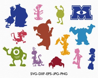 Monster inc silhouettes svg, Disney monster inc silhouette clipart EPS png jpg files. Disney svg dxf for Silhouette Cameo or Cricut