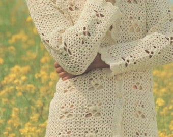 Womens Lacy Long or Short Cardigan, Crochet Pattern. Instant Download.
